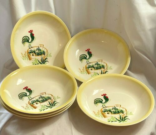 "Paden City Provincial Rooster 7-7/8"" Cereal or Soup Bowls Gently Used- 5 pcs"