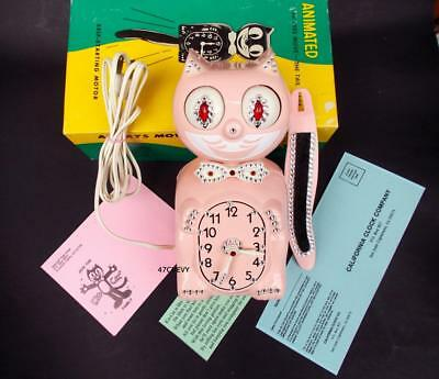 VINTAGE 1960's PINK ELECTRIC-KIT CAT KLOCK-KAT CLOCK-ORIGINAL MOTOR REBUILT-USA
