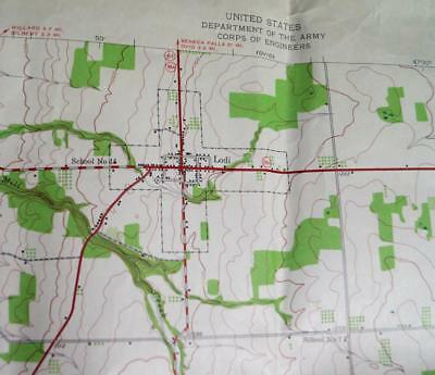 LODI NEW YORK QUADRANT TOPOGRAPHIC SURVEY ROAD MAP 1942 WWII ERA VINTAGE