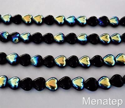 50 6 x 6 mm Czech Glass Heart Beads: Jet AB Glass 6mm Heart Beads