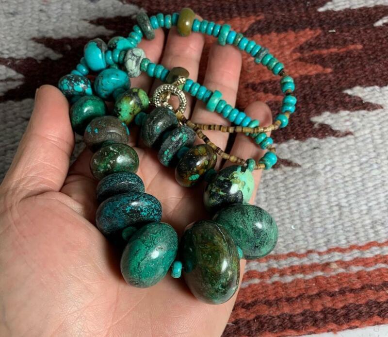 "23"" huge vintage Tibetan turquoise abacus shape bead necklace(g180d-w6)"