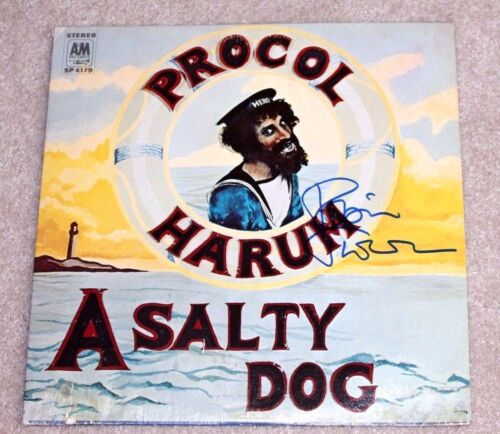ROBIN TROWER SIGNED PROCOL HARUM A SALTY DOG ALBUM VINYL RECORD W/COA