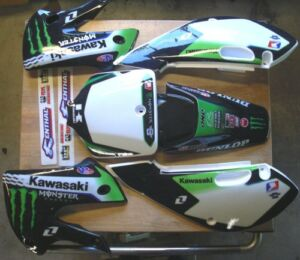KLX 110 02-09 Kx 65  02-12 Graphic Kit  w/ Plastics Black kit New Free Grips 17