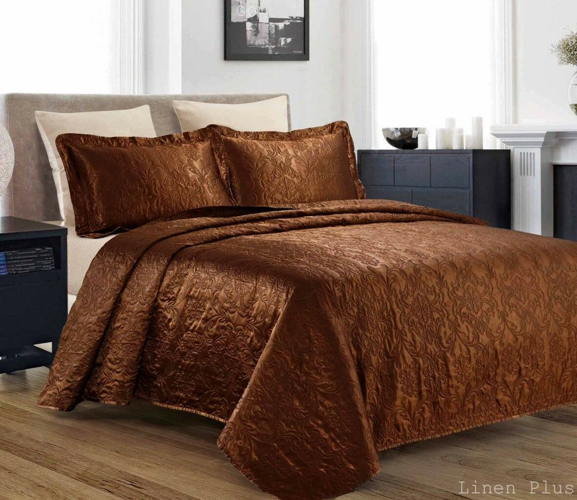 quilted bedspreads king size 3 piece silky satin brown quilted bedspread coverlet set king size