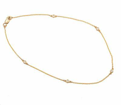 """EXQUISITE 10"""" 14kt Y.G. Diamonds by the Yard Diamond Station Anklet .15 Cts."""