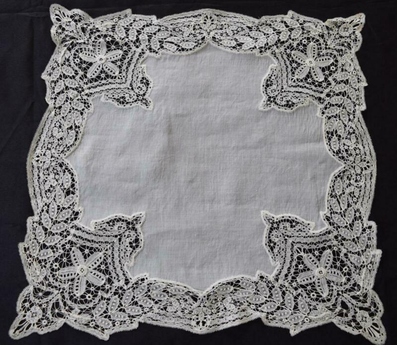 Large Elaborate Antique Honiton Lace Doily or Oversize Hanky Centerpiece Vintage