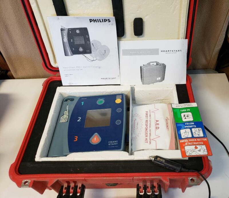 Philips HeartStart FR2+ AED Defibrillator M3861A Heated Case & Batteriy 03/21 E