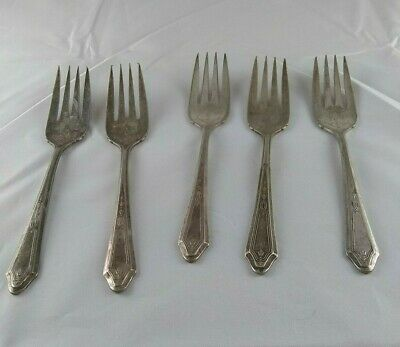 King Hotel Engraved Oneida Community Tudor Plate Set of 5 Salad Forks  Hotel Oneida