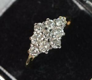 1.00ct Diamond Daisy Cluster 18ct Gold Ring d0518