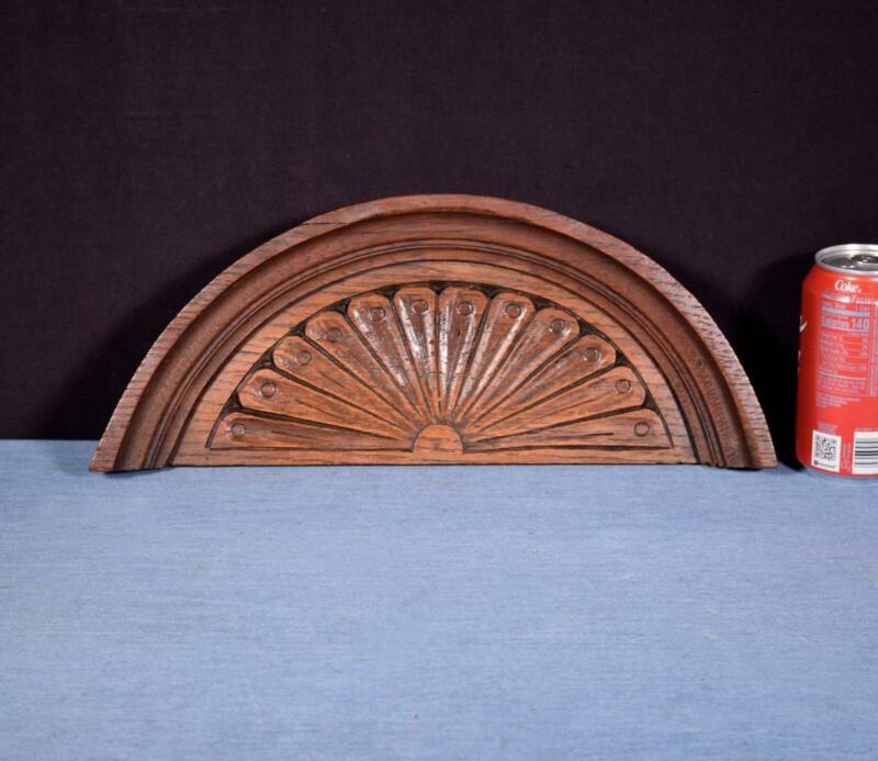 """*15"""" French Antique Pediment/Crest in Oak Wood Salvage Carved"""