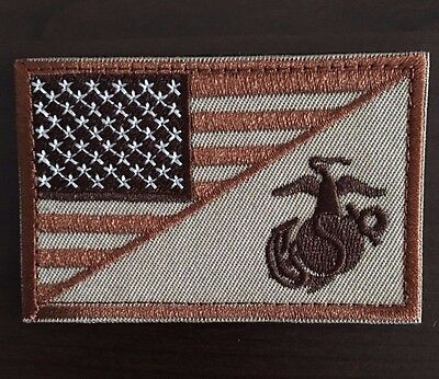 AMERICAN FLAG MARINE CORPS / USMC BADGE TACTICAL DESERT PATCH TAN NEW