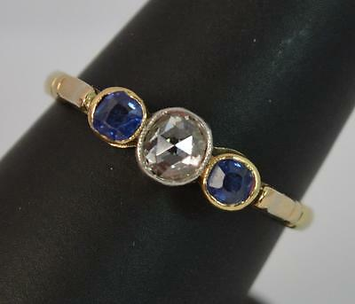 Victorian 18ct Gold Rose Cut Diamond and Sapphire Trilogy Ring d0721