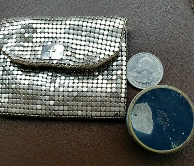 1920s Style Purses, Flapper Bags, Handbags Lot 1920s Vintage Whiting & Davis Purse CROSS ELMO Face  Powder Tin COMPACT $49.90 AT vintagedancer.com