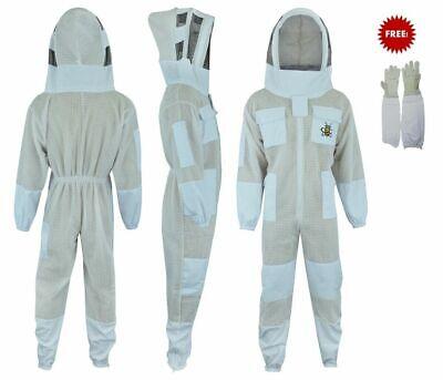 Three Layer Bee Ultra Ventilated Beekeeper Beekeeping Suit Fencing Veil Xl