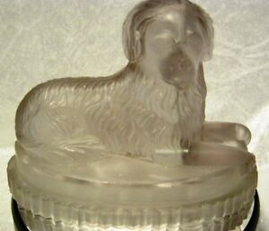 A-Victorian-Derbyshire-Moulded-Glass-Figure-of-a-Seated-Newfoundland-Dog-C19th