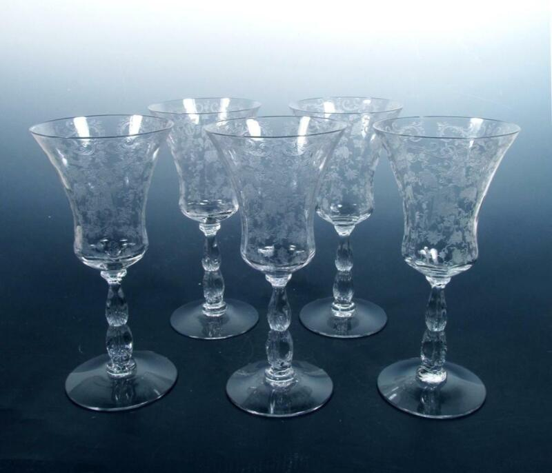Cambridge Glass SET (5) Chantilly Etch Vintage #3600 Stem Crystal Water Goblets