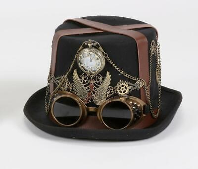 180 Degrees Steampunk Halloween Costume Top Hat Pocketwatch Decor Accent Adult