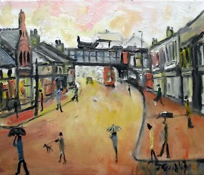 Original Impressionist Oil Painting John Goodlad Northern Art RAINY TOWN CENTRE