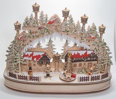 "16.5"" Musical LED Village Kurt Adler Christmas Holiday Winter Tabletop Decor"