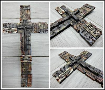 Unique Gift Rustic Engraved Spiritual Inspirational Hand Painted Wall Cross 7x12 ()