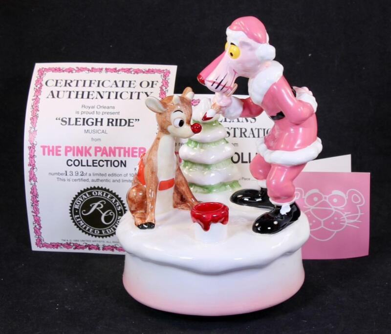"""1982 Ceramic The Pink Panther """"Sleigh Ride Wind-Up Music Box"""