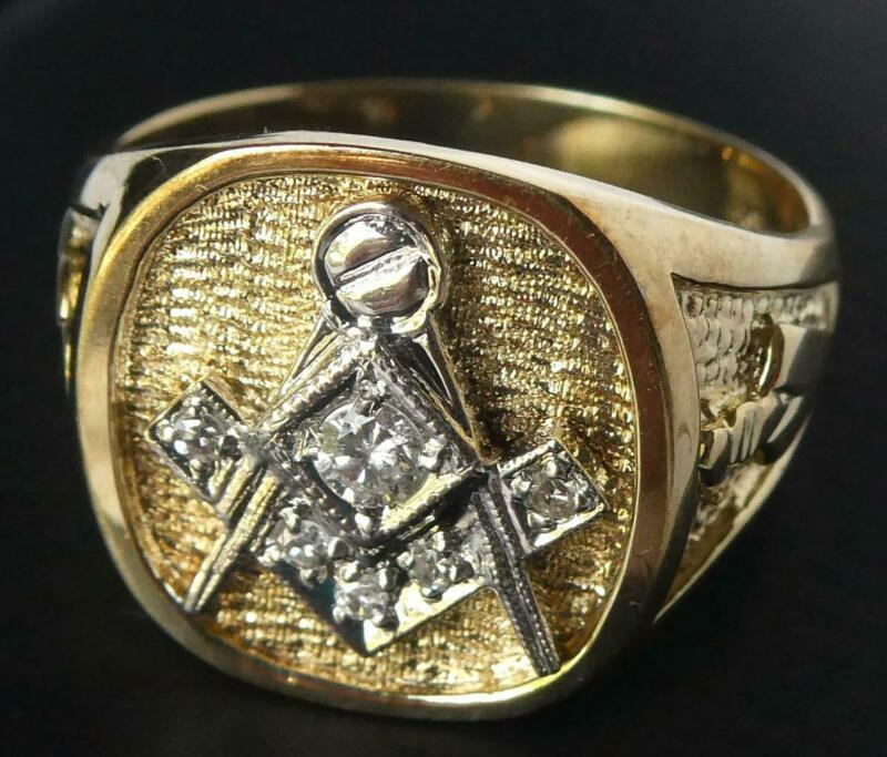 Heavy Vintage 14k Gold Diamond Masonic Freemason Ring New Old Stock Sz 8.75 10g