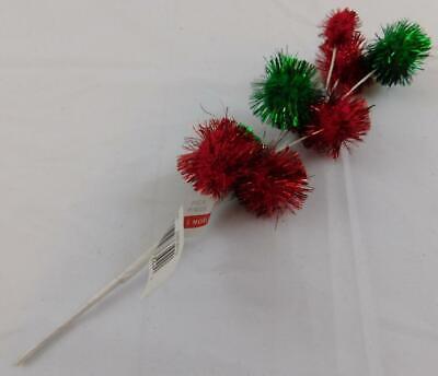 Ashland Christmas Holiday Pick Red Green Glitter Sparkle Balls New Green Glitter Ball