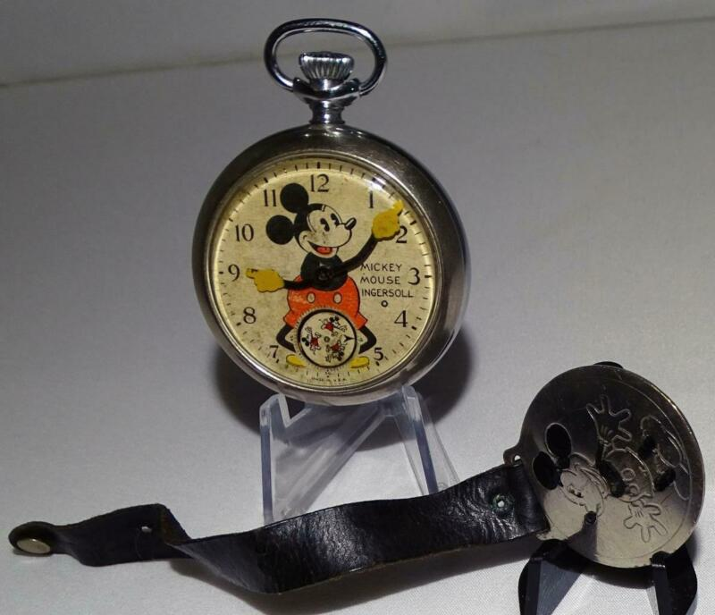 """EX! DISNEY1934""""MICKEY MOUSE POCKET WATCH""""-INGERSOLL+FOB&STRAP+WORKS&KEEPS TIME👍"""