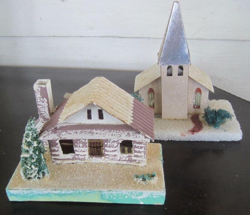 Vintage Christmas Putz Cardboard House and Church