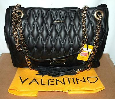 NEW MARIO VALENTINO MILANO VERRA QUILTED TOTE SHOULDER BAG BLACK & GOLD