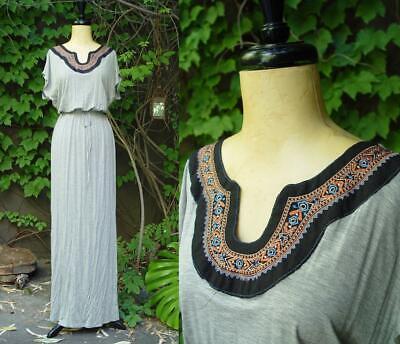 Embroidered Bib Collar Gray Egyptian Goddess T-Shirt Long Maxi 297 mv Dress M - Egyptian Attire For Women