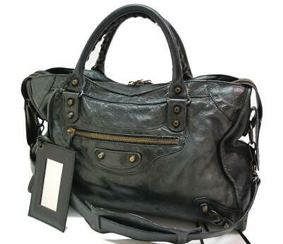 Authentic BALENCIAGA Classic City Editor's Leather Shoulder Bag Black 0508a