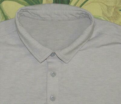Mens LULULEMON Light Gray Short Sleeve Polo Shirt Large L