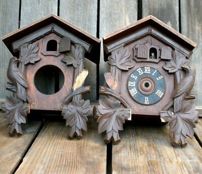 Vintage 2 Small German Carved Wood Cuckoo Clock Parts for Repair Replacement