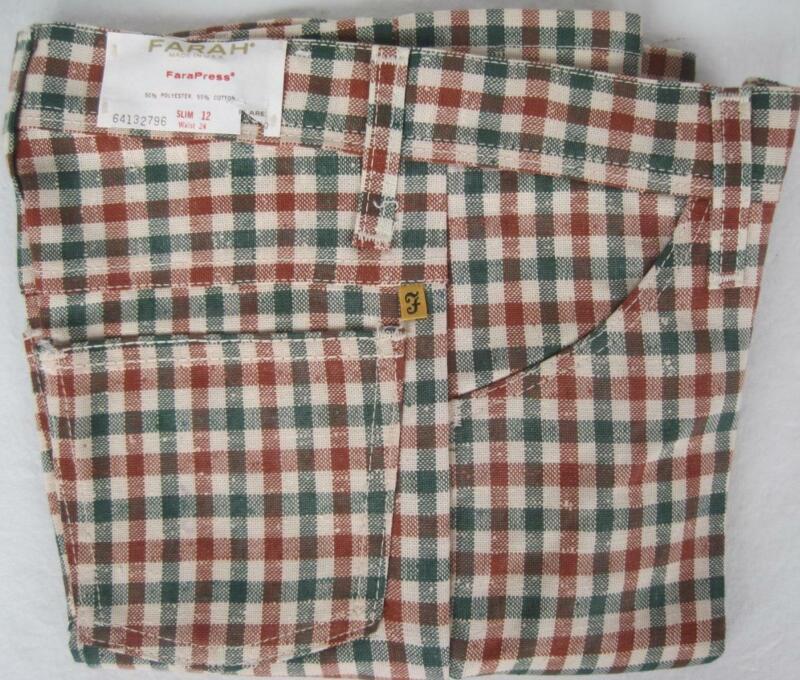 FARAH Vintage Boys PLAID SLIM 12 Flare Pants 24W Poly Cotton Rust Green 1970