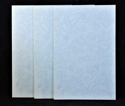 Three 3 Blue Floral Printed Note Pads Containing 30 Pages Each.