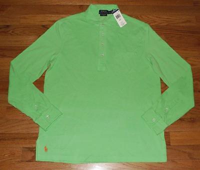 NWT Mens Polo Ralph Lauren Featherweight Mesh Long Sleeve Estate Polo Shirt *E2