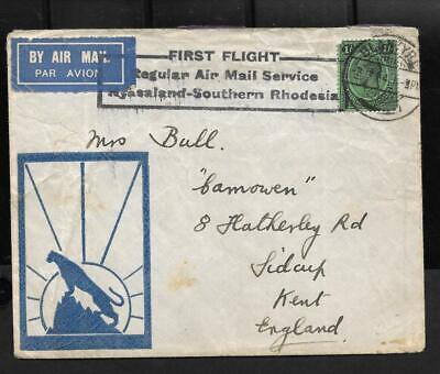 NYASALAND, 1934 KGV FIRST FLIGHT COVER FROM BLANTYRE TO UK. COVER A LITTLE TIRED
