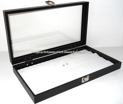 Key Locking Glass Top 45 White Earring Pendant Jewelry Storage Display Case