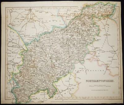 1842 - Original Antique Map of NORTHAMPTONSHIRE by Fisher