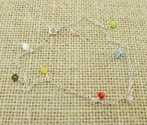 925-Sterling-Silver-Multicolor-Cristal-Cuentas-De-Cristal-Tobillera-Joyeria