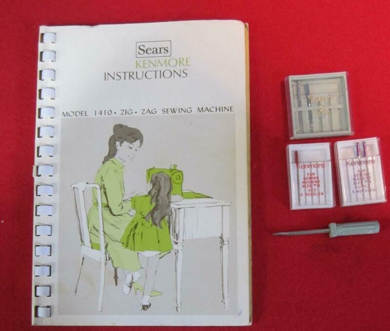 VINTAGE SEARS KENMORE ZIG-ZAG  SEWING MACHINE MODEL 1410 MANUAL NICE WITH EXTRAS