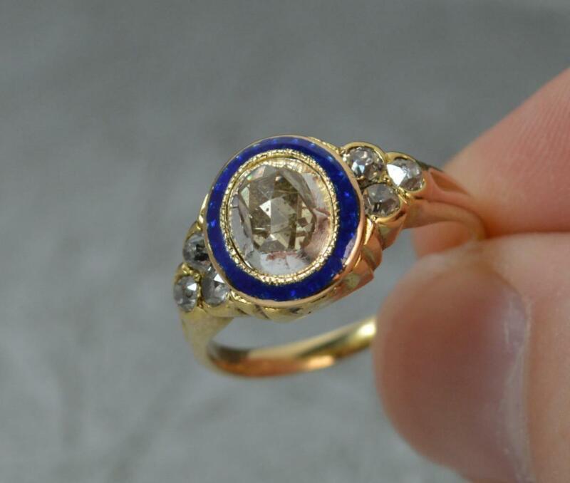 Impressive Georgian 18ct Gold 1ct Diamond & Enamel Cluster Ring d0561