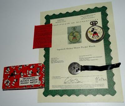 "DISNEY1934 NM INGERSOLL""MICKEY MOUSE POCKET WATCH""-SERVICD+GUARANTE SLIP+COA+BOX"