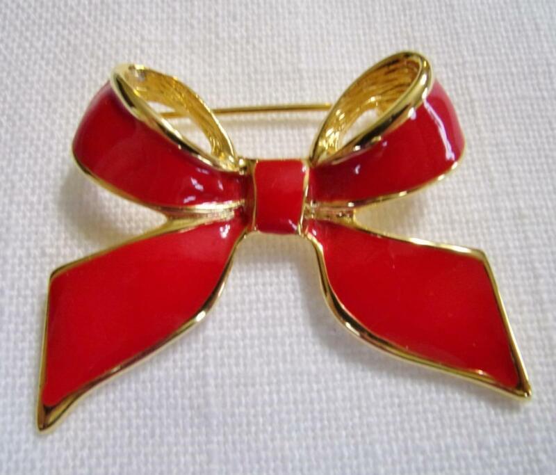 Pretty Gold Tone & Red Enamel Bow Pin Brooch