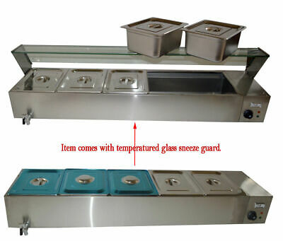 5-pan 6inch Deep Pan Countertop Steam Table Bain Marie Food Warmer 110v1500w Us