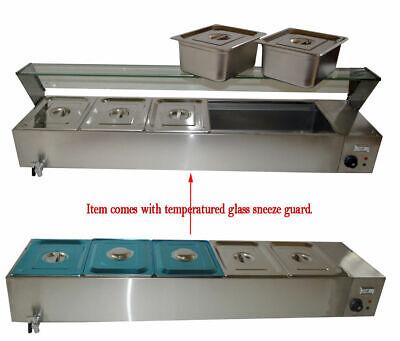 5-pan 6inch Deep Pan Countertop Steam Table Bain Marie Food Warmer 110v1500w Us