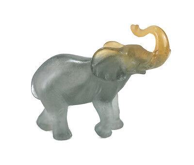 Daum France Art Glass Pate de Verre Miniature Elephant Figurine, Signed