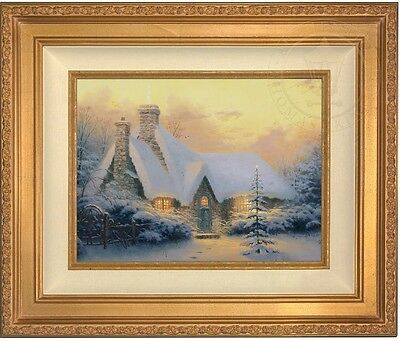 Thomas Kinkade Christmas Tree Cottage 12 x 16 LE S/N Canvas (Gold Frame) ()