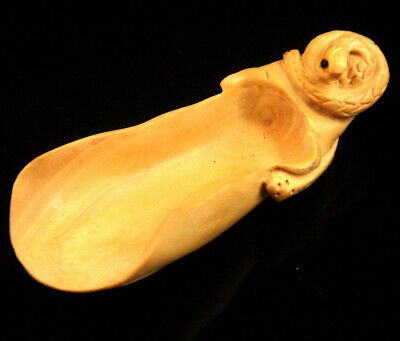 Boxwood Hand Crafted Tea/Coffee Scoop Snake Handle Zodiac Animal #04121906